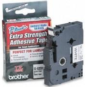 Bandă laminată/puternic adezivă Brother TZS231, 8m/12mm negru/alb