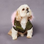 River Island Womens RI Dog Khaki pink fur parka