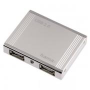 Hub USB, 4 porturi, argintiu, HAMA