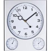 Ceas de perete 27.5 x 32cm, grosime 2.5cm, cu hygrometru si termometru, Crisma [A]