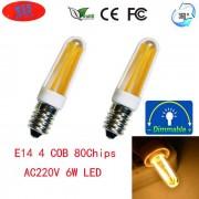 JRLED E14 dimmable 6W 600lm bombillas de ceramica de la luz blanca caliente 4-COB (2PCS)