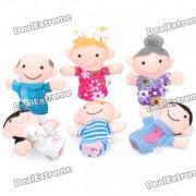 Lindo Mini Happy Family Marionetas de peluche Figura Finger Juguetes (6-Piece Pack)