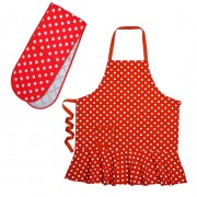 Polka Dot Set - Double Oven Mitt and Hostess Apron by Annabel Tr