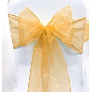 Organza Chair Sashes - Regal Gold - Packet of 5