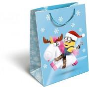 Karácsonyi ajándéktáska 23x18x9cm GSM Minions Unicorn