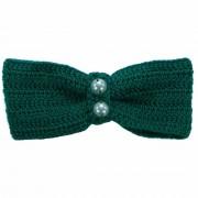 Clama de par, dama, Buticcochet, crosetata manual, Funda Verde, cu Perle Albe