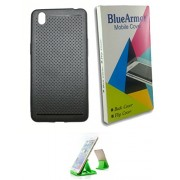 BlueArmor Black Soft Silicone Back Cover Case For Oppo A37 - Dotted & Mobile Stand