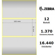 Zebra Z-Ultimate 3000T Silver - Etichette in poliestere di colore argento, formato 102 x 51 mm.