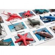 Montessori Animal Match - Miniature Ocean Animals with Matching Cards - 2 Part Cards. Montessori Learning Toy Language Materials