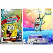 SpongeBob Play Pack + Hot Wheels Dairy Delivery Set Nickelodeon Collectible Pop Culture Real Rider Cars stickers crayons coloring activity book