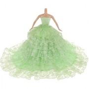 Magideal Green Bride Princess Wedding Gown Dress For Barbie Dolls
