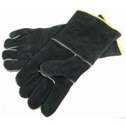 Zwarte lederen BBQ handschoenen