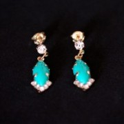 Semi Jewelry Earring Plated Gold Medium Brightness with Green Stone