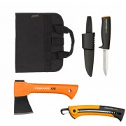 Комплект подаръчен за мъже - Брадва X5-XXS + Универсален нож K40 + Трион SW73, FISKARS