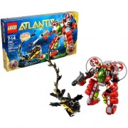 Lego Atlantis Series Special Edition Set # 8080 - UNDERSEA EXPLORER that Transforms with Torpedo Launcher and Grappling Arm Plus Red Atlantis Treasure Key Sea Serpent and Diver Minifigure (Total Pieces: 364)