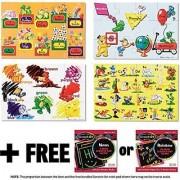 Beginning Skills Floor Puzzle Set (1 Set of Four 12-Piece Puzzles) + FREE Melissa & Doug Scratch Art Mini-Pad Bundle [04