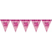Pink Glitz '16Th' Birthday Flag Banner