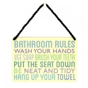 hang-ups! - tinnen bordje - bathroom rules
