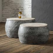 LUMZ Ronde salontafelset met houten blad