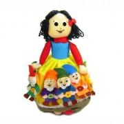 Boneca Dupla Face - Branca de Neve/Bruxa e os 7 Anões (Dedoches)