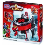 Mega Bloks 5772 Power Rangers Samurai Lion Zord - Figura de Power Ranger rojo con nave