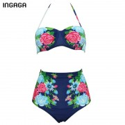 INGAGA 2017 Sexy Bikini Set High Waist Swimsuit Swimwear Women Floral Strap Push Up biquini Beachwear Bathing Suits