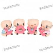 Amor lindo estilo Pig figura de juguete Desk Set Doll (4-Piece Pack)