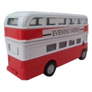 Hti Sovi-New Teamsters 1:38 Scale London Style Double Decker Classic Bus / Buses Kids Toy-Red & White