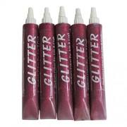 AsianHobbyCrafts Glitter sparkle Glue tubes: 25ml X 5 Tubes Pack( set of 5) (Pink)