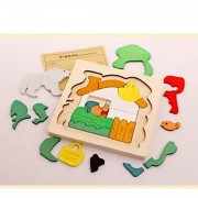 Magideal Wooden Multilayer Jigsaw Cartoon Kid Educational Toy Little Red Riding Hood