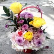 Cos flori cu hortensie, trandafri si crizanteme CF029