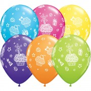 "Baloane latex 11"" inscriptionate Cupcakes & Presents Asortate, Qualatex 31227"