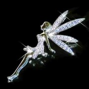 Huge Purple Tinkerbell Fairy Swarovski Crystal Brooch