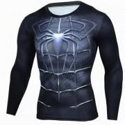 Camisa de los hombres de la manga larga del patron del hombre al aire libre del deporte - negro (xxxl)