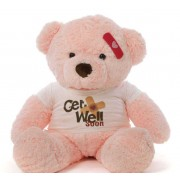 2 feet big pink teddy bear wearing a Get Well Soon T-shirt