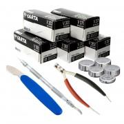 53pc Varta Watch Battery Kit V357 V392 V393 V303 V371 w/ 3 Bonus Tools