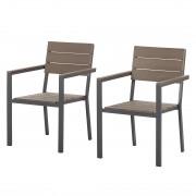 Ligstoelen Kudo II (2-delige set) - aluminium/polyhout, Fredriks