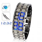 Montre à LED style japonais - Bleu