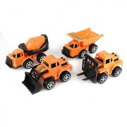 Dazzling Toys Construction Trucks Set. Includes 1 Cement Truck 1 Bulk Truck 1 Dump Truck and 1 Excavator.