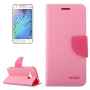 Cross Texture Contrast Color Style Leather Case with Holder & Card Slots & Wallet for Samsung Galaxy J1 Ace / J110(Pink)