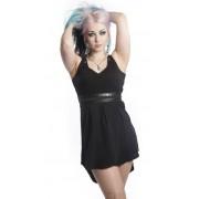 Rockowa sukienka z skórzanym paskiem i wiązaniem gorsetowym - IRIS DRESS