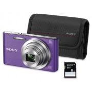 """Sony DSC-W830 Cámara compacta de 20.1 Mp (pantalla de 2.7"""", zoom óptico 8x, estabilizador óptico), violeta Kit cámara + Funda + SD 8 GB"""