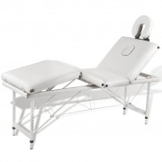 Massagetafel inklapbaar met aluminium frame (vier delen / crèmewit)