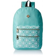 HOOM Classic Casual Printed PU Leather Unisex School Student Laptop Backpack Suits for Camping, Traveling & Fits Acer, Aspire, MacBook, iPhone, iPad and Samsung Tablet (light blue)