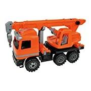 Lena 02177 - Powerful Giants Actros Crane Car, Orange, 27.5 cm