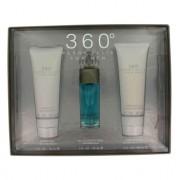 Perry Ellis 360 Eau De Toilette Spray + After Shave Balm + Shower Gel Gift Set Men's Fragrance 454276