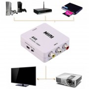 ER AV compuesto CVBS 3 RCA a HDMI Video Converter adaptador 720p 1080p Full HDBlanco.