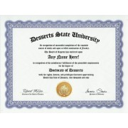 Dessert Desserts Degree: Custom Gag Diploma Doctorate Certificate (Funny Customized Joke Gift - Novelty Item)