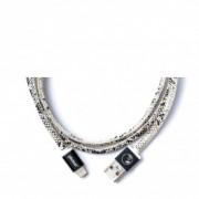 Черно-бял ръчно изработен USB кабел PlusUs LifeStar с Lightning накрайник (25 см)