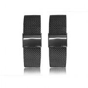 Lucco Stainless Steel Metal Watchbands for Motorola Moto 360 Smart Watch Band Moto360 (2pcs Mesh Black)